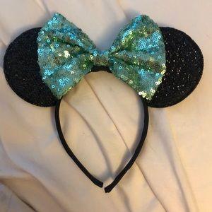 Mickey Ear Headband- mint green sparkle